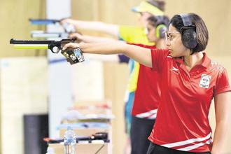 Heena Sidhu during the women's 10m Air Pistol final at the 2018 Commonwealth Games, on Sunday. Photo: AP
