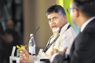Andhra Pradesh CM Chandrababu Naidu at the HT-MintAsia Leadership Summit in Singapore on Friday. Photo: MintAsia
