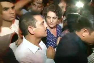 Priyanka Gandhi and her husband Robert Vadra at India Gate for the candlelight march called by Congress president Rahul Gandhi to protest against the Kathua and Unnao rape cases. Photo: ANI/Twitter