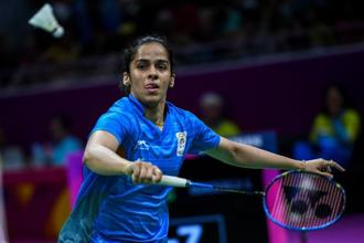 Saina Nehwal hits a return against Canada's Rachel Honderich during their badminton women's singles quarter-final match at the 2018 Gold Coast Commonwealth Games in Gold Coast on 13 April 2018.  Photo: AFP