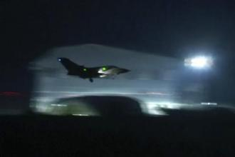 A fighter jet landing at Akrotiri military British Royal Air Force Base, Cyprus on 14 April 2018. Fighter jets were seen taking off from a British Royal Air Force (RAF) base in Cyprus early on Saturday morning. Their destination was not revealed. Photo: AP
