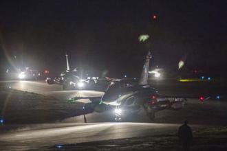 Dassault Rafale fighter planes prepare to take off for airstrikes in Syria from St Didier airbase, eastern France. Photo: French Defence Ministry/ECPAD via AP