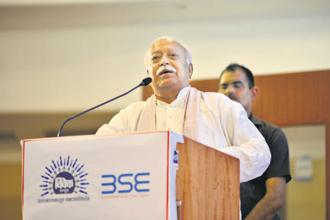 RSS chief Mohan Bhagwat, at a BSE event, said India must have ownership and control over its skies through its national carrier, Air India. Photo: Aniruddha Chowdhury/Mint