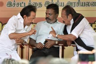 DMK leader M.K. Stalin, MDMK chief Vaiko, VCK leader Thol Thirumavalavan at a protest against dilution of certain provisions of the SC/ST Act at Valluvar Kottam in Chennai on Monday. Photo: PTI