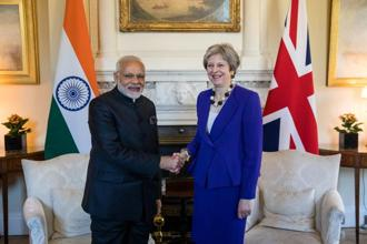 Prime minister Narendra Modi with British prime minister Theresa May during their bilateral meeting in London on 18 April 2018. Photo: Bloomberg