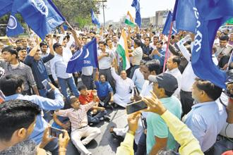 Dalit protests during the Bharat Bandh called against Supreme Court's ruling on SC/ST Act, in Delhi on 2 April. Photo: HT
