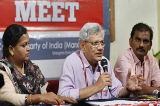 A file photo of CPM general secretary Sitaram Yechury addressing media persons as part of the 22nd party national congress in Hyderabad. Photo: PTI