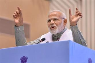 PM Narendra Modi says the BJP didn't come to power because of the mistakes of the Congress party. Photo: AP