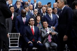 File photo of US treasury secretary Steve Mnuchin with Japan finance minister Taro Aso and Bank of England governor Mark Carney during the IMF/World Bank spring meeting in Washington. Photo: Reuters