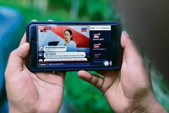 West Bengal chief minister appeared on a live chat on Facebook  on Tuesday ahead of panchayat elections in the state. Photo: Pradeep Gaur/Mint