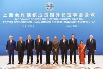 Foreign ministers and officials of the Shanghai Cooperation Organization (SCO) pose for a group photo before a meeting in Beijing, China on Tuesday. Foreign minister Sushma Swaraj (2nd from right) attended the meet. Photo: PTI