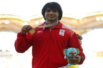 Men's javelin gold medalist India's Neeraj Chopra became only the fifth Indian athlete to have won a track and field gold medal at the Commonwealth Games after throwing 86.47m. Photo: AP