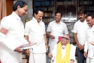 (From left) K. Chandrasekhar Rao with DMK working president M.K. Stalin and party supremo M. Karunanidhi, in Chennai on Sunday.