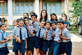 Trishya Screwvala, founder of The Lighthouse Project, with school children. Photo: