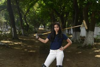 Ashley Parekh, youngest female polo player in India , at Mahalaxmi Race Course in Mumbai. Photo: Abhijit Bhatlekar/Mint