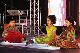 A file photo of children performing Carnatic music in Toronto, Canada. Photo: AFP