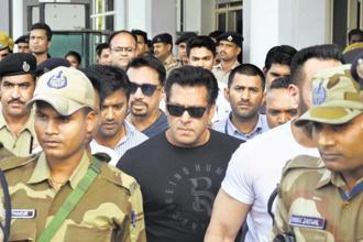 Salman Khan appeared before the judge in Jodhpur court on Monday in compliance with the directions given by the court on 7 April while granting bail. Photo: AP