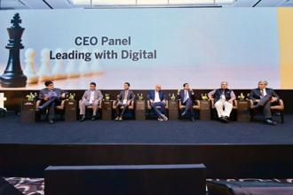 (From left) Niranjan Rajadhyaksha, executive editor, Mint; Deb Deep Sengupta, president and MD, SAP India; B. Venugopal, MD, LIC; Anupam Pahuja, MD and country manager, Paypal India; Gagan Rai, MD and CEO, NSDL e-Governance Infrastructure; S. Sivakumar, group head (agri and IT businesses) ITC; and Vimal Kejriwal, MD and CEO, KEC International, at the Mint Digitalist Forum 2018 in Mumbai. Photo: Aniruddha Chowdhury/Mint