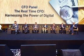 (From left) Ramesh Swaminathan, CFO and whole-time director, Lupin; Neeraj Athalye, VP (innovation and digital business), SAP India; Ramesh Subramanyam, CFO, Tata Power Co.; Leslie D'Monte, national technology editor, Mint; Bharat Moossaddee, CFO, Mahindra and Mahindra; Rajesh Prabhu, CFO, DBS Bank; Milan Sheth, partner (advisory services) EY India, at the Mint Digitalist Forum 2018 in Mumbai.