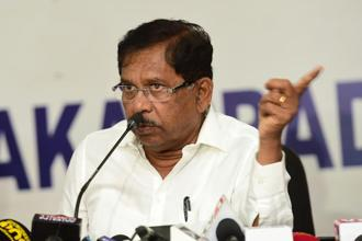 Karnataka state Congress president G. Parameshwara said in Bengaluru that the Congress would support the JD(S) to form a government. Photo: PTI
