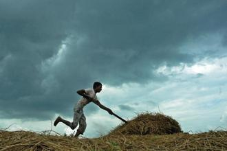 File photo: An Indian farmer works in a field as monsoon clouds gather overhead in Agartala. Photo: AFP