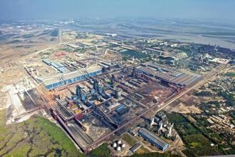 An aerial view of Essar Steel complex at Hazira in Gujarat. Essar Steel is being auctioned after the company defaulted on payment of about Rs49,000 crore loan to lenders.