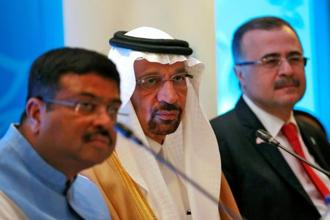 A file photo of Saudi energy minister Khalid al-Falih with Indian oil minister Dharmendra Pradhan (Left) and Saudi Aramco CEO Amin Nasser (Right) during IEF meet in New Delhi on 11 April 2018. Photo: Reuters