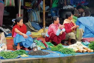 A file photo of vegetable sellers at the Ima Keithel women's market in Imphal. Photo: Indranil Bhoumik/Mint