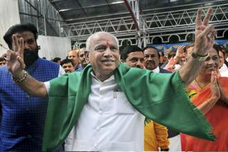 BJP's Yeddyurappa was sworn in as the Karnataka chief minister on Thursday. Photo: PTI