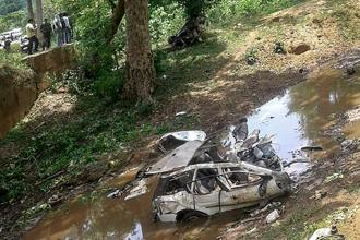 Mangled remains of the police vehicle which was blown up by Naxals with a landmine in Dantewada district of Chhattisgarh on Sunday. Photo: PTI