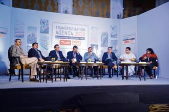 (From left to right) Siraj Hussain, former agriculture secretary; Siraj Chaudhry, chairman, Cargill India; Sachid Madan, chief executive, fruits and vegetables, ITC; Pawanexh Kohli, chief advisor, National Centre for Cold Chain Development (NCCCD); Pawan Agarwal, CEO, Food Safety and Standards Authority of India; Asim Parekh, vice-president, Coca-Cola India; Acharya Balkrishna, MD, Patanjali Ayurved; and Mint's Elizabeth Roche  Photo: Ramesh Pathania/Mint