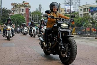Karen Davidson, the great granddaughter of Harley-Davidson co-founder William A. Davidson, in Kolkata on Monday. Davidson is touring India to promote branded apparel sold by the motorbike maker. Amit Datta / Mint