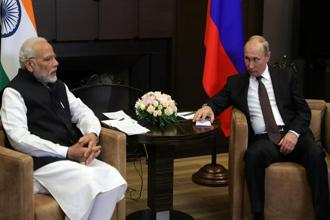 Prime Minister Narendra Modi with Russian president Vladimir Putin in the Black Sea resort of Sochi on Monday. Photo: Reuters