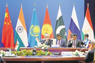 Members of the Indian delegation at a meeting of the Shanghai Cooperation Organisation in Beijing on Tuesday.Photo: AFP