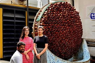 Monish Siripurapu, founder, Ant Studio, and team members Astha Chopra (middle) and Aishwarya Kaura with the Cool Ant system. Photo: Pradeep Gaur/Mint