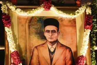 A portrait of Savarkar in the central hall of Parliament House. Photo: Hindustan Times