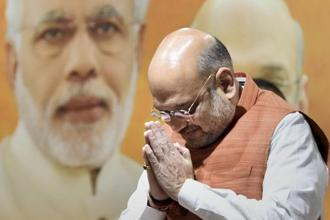 Speaking on four years of Modi government, BJP president Amit Shah said opposition parties were coming together to remove PM Narendra Modi whereas the NDA was working to end poverty and for rules-based governance. Photo: PTI