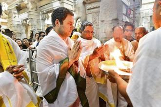 Bowing their heads in temples ahead of Karnataka elections, party leaders resembled pilgrims more than politicians. Photo: PTI