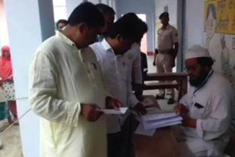 Altogether 2.70 voters are eligible to exercise their franchise to decide the fate of nine candidates contesting from the Jokihat assembly seat in Bihar's Araria district. Photo: ANI via twitter