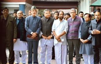 A file photo of  leaders from various opposition parties coming out of Election commission office after meeting the EC. Photo: Ramesh Pathania/Mint