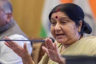 External affairs minister Sushma Swaraj speaks during the ministry's annual press conference on completion of 4 years of the NDA government in New Delhi on Monday. Photo: PTI