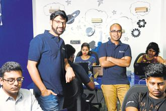 HackerEarth founders Sachin Gupta (left) and Vivek Prakash had to learn to think beyond coding while setting up their start-up. Photo: Hemant Mishra/Mint