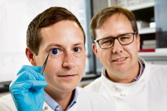 Professor Che Connon (right). The dimensions of the 3D-printed tissue were originally taken from an actual cornea. Photo: iStockphoto