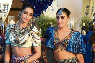 Sonam K. Ahuja (left) and Kareena Kapoor Khan in the 'sangeet' sequence of 'Veere Di Wedding'.