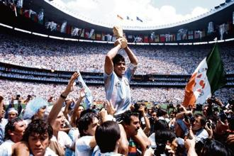 Argentina captain Diego Maradona after winning the 1986 World Cup. Photo: Getty Images