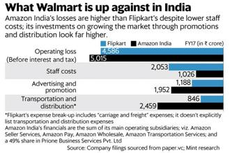 In FY17, Amazon India reported a loss before interest and tax of around $750 million (₹5,015 crore). Graphic: Mint
