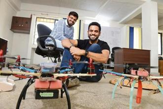 Kunal Sharma (left) and Pranav Manpuria's drones provide farmers data to improve productivity. Photo: Hemant Mishra/Mint