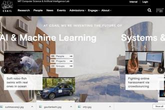A screenshot of MIT's Computer Science and Artificial Intelligence Laboratory (CSAIL) website.