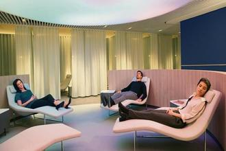 As farther-apart cities become increasingly connected by direct flights, more and more airlines are stocking their lounges with wellness-related features.