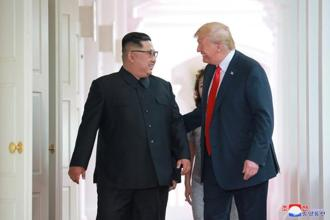 US President Donald Trump with North Korean leader Kim Jong Un at the Capella Hotel on Sentosa island in Singapore. Photo: Reuters